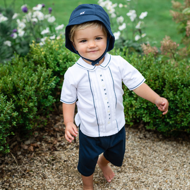 Wade Navy Baby Boys Short Set