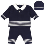 Peter Navy Boys Knit Outfit with Hat