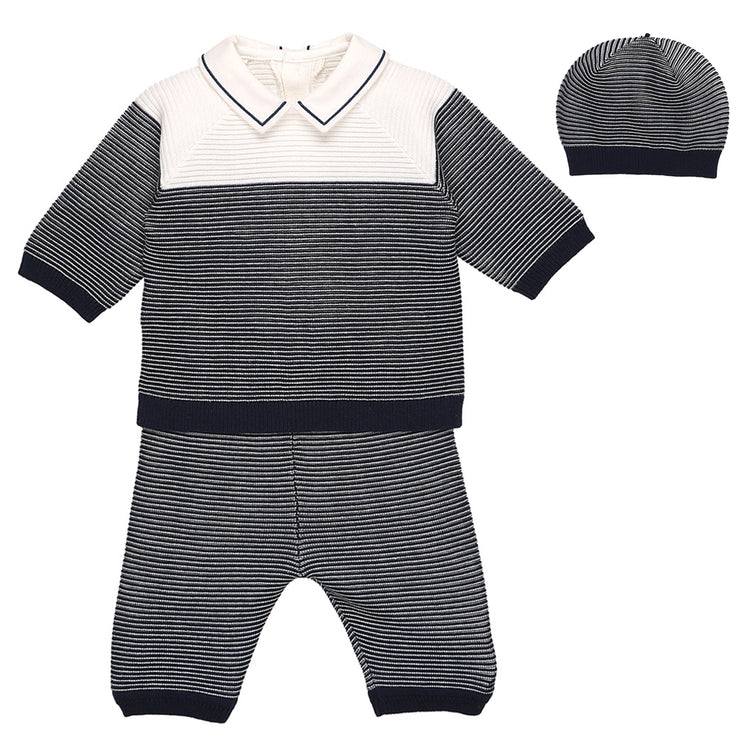 Reggie Striped Knit Trouser Set with Hat