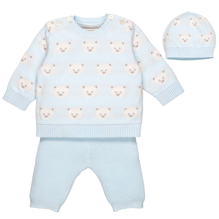 Rex Blue Knit Teddy Bear Trouser Set