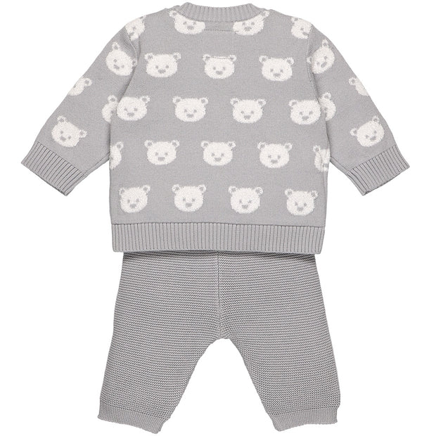 Rex Grey Knit Teddy Bear Trouser Set
