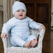 Tanner Blue Stripe Knit Outfit with Hat