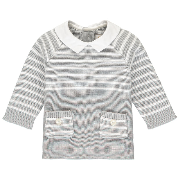 Tanner Grey Stripe Knit Outfit with Hat