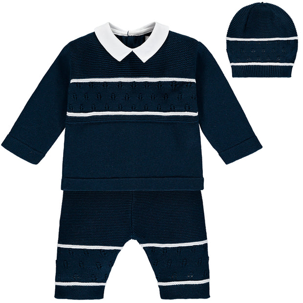 Wilkie Navy Knit Baby Boys Trouser Set