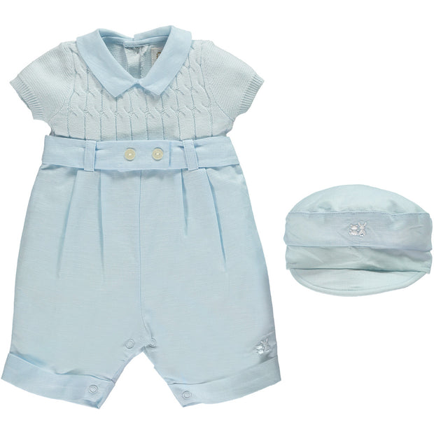Gerald Boys Blue Smart Romper with Hat