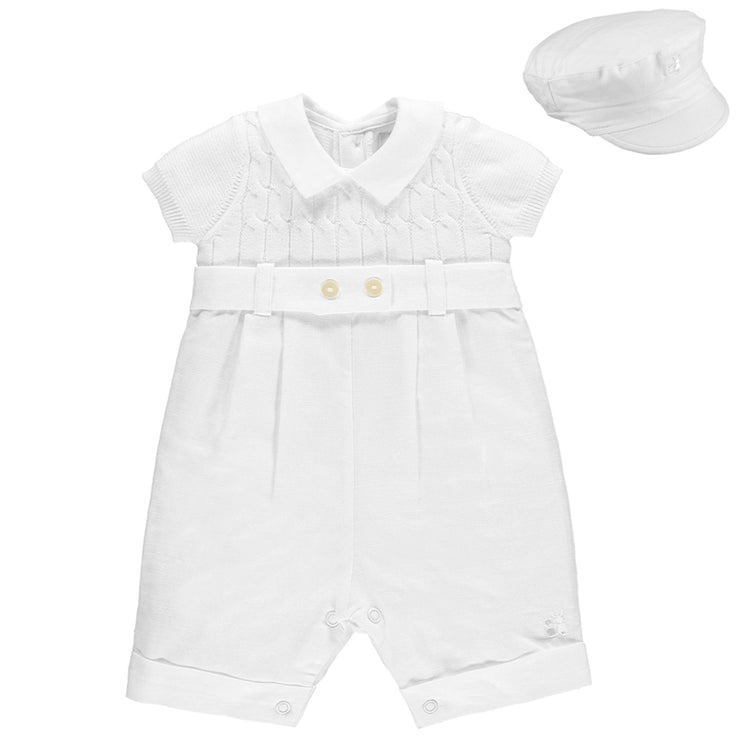Gerald Boys White Smart Romper with Hat