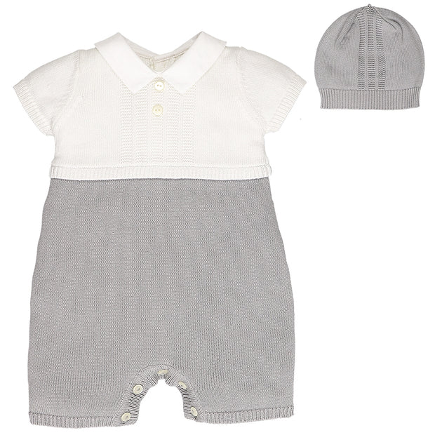 Paddy Grey Knit Romper with Hat