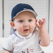 Edward Navy Baby Boys Sun Cap with Detachable Flap