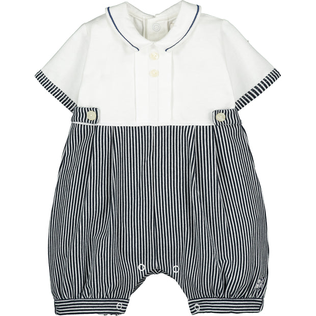 Walcott Navy Striped Baby Romper