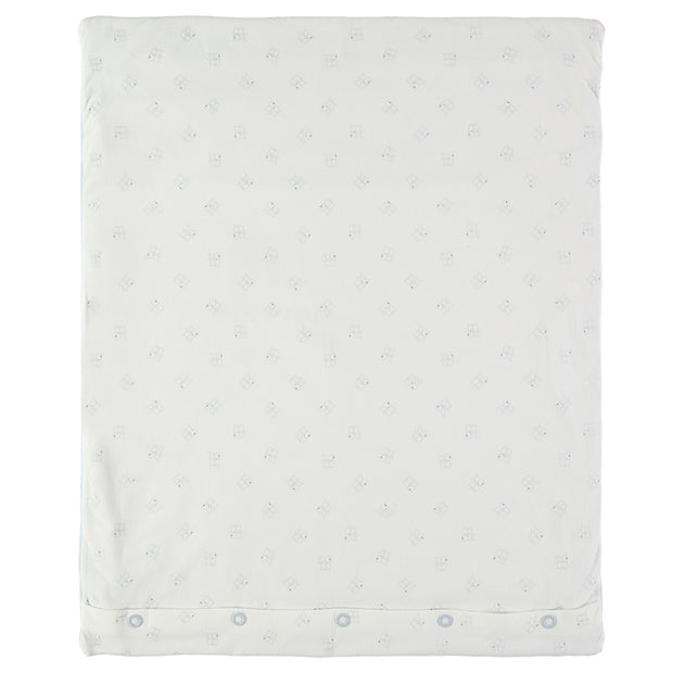 Emile Bear Blue Baby Blanket with Moon Applique