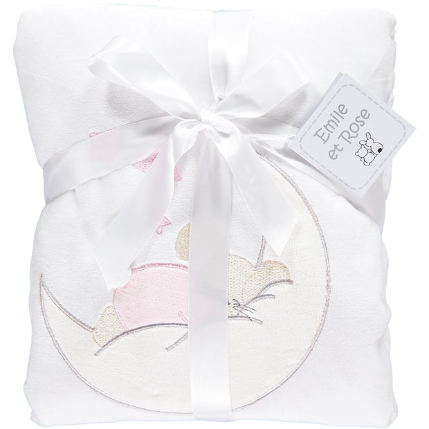 Rose Bunny Pink Baby Blanket with Moon Applique