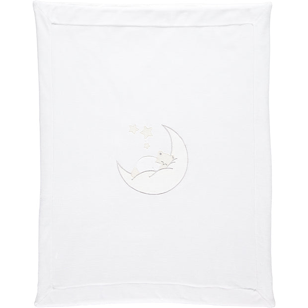 Emile Bear White Baby Blanket with Moon Applique