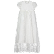 Sarah Silk Baby Girl Christening Robe with Lace, Ivory
