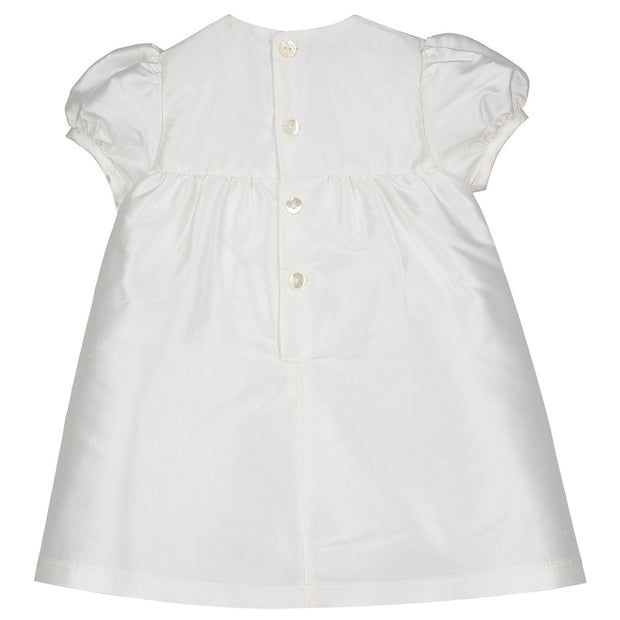 Sophie Silk Dress with Pleats & Rosettes, Ivory