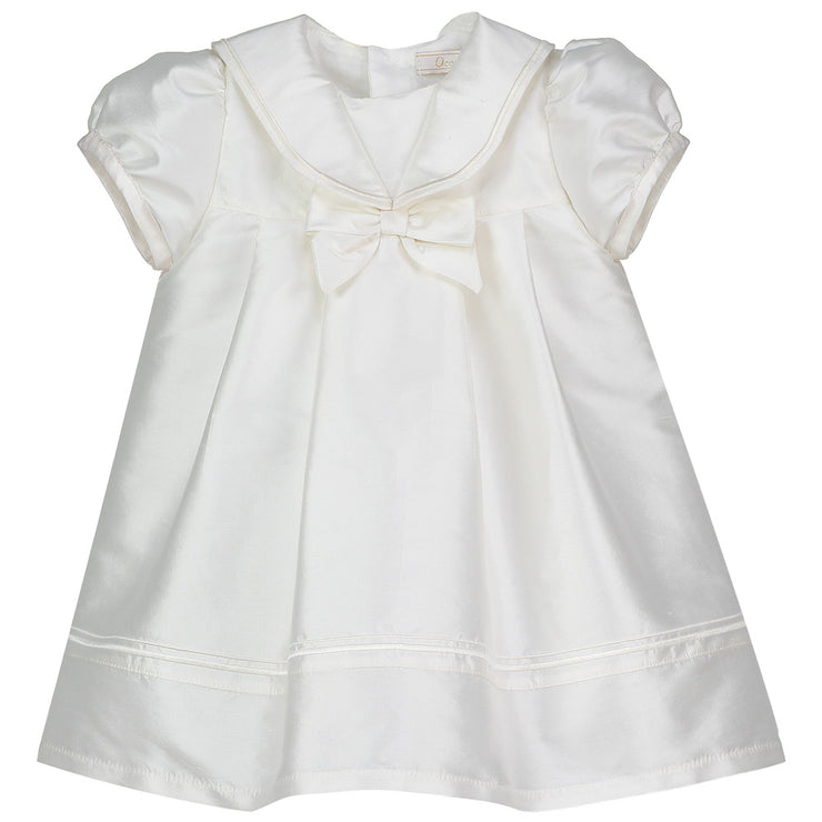 Samantha Silk Dress with Sailor Collar, Ivory