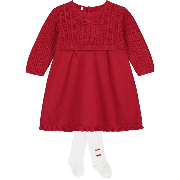Nerys Red Cable Knit Baby Girls Dress