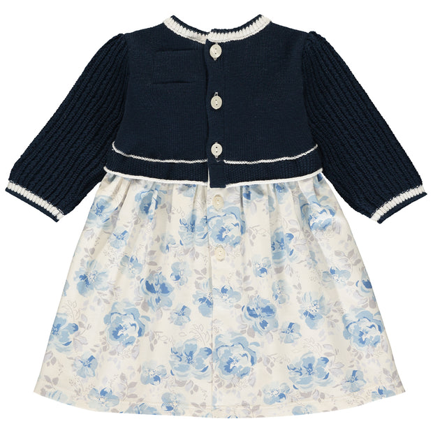Talita Navy Knit & Floral Winter Dress
