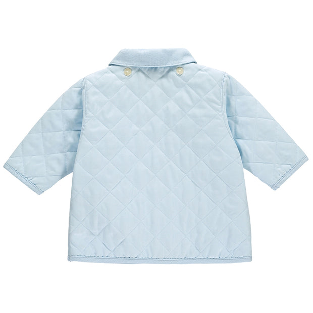 Curtis Microfibre Quilted Jacket with Hood Pale Blue