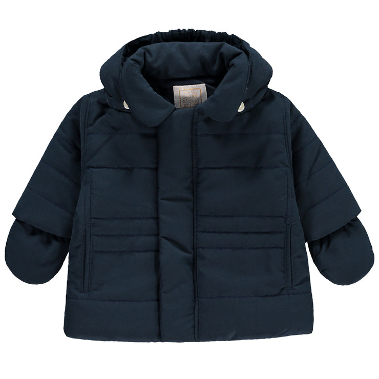 Neil Navy Padded Jacket with Hood & Mitts