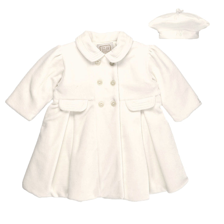 Rosanna Ivory Velour Girls Coat & Hat Set