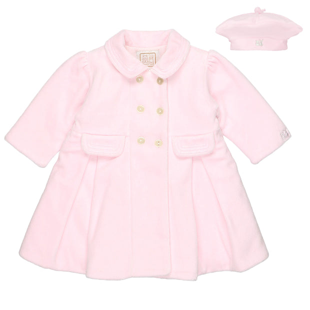 Rosanna Pink Velour Girls Coat & Hat Set