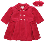 Rosanna Red Velour Girls Coat & Hat Set