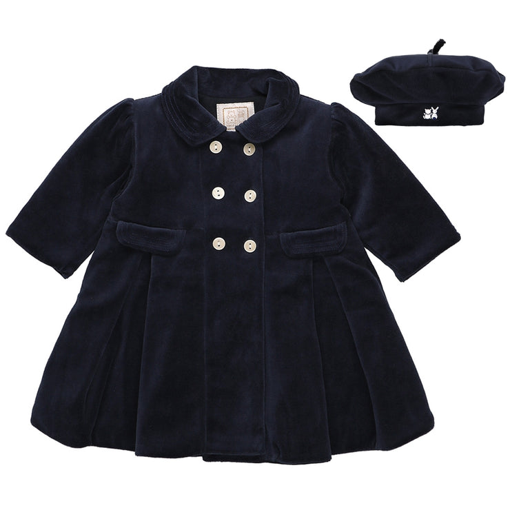 Rosanna Navy Velour Girls Coat & Hat Set