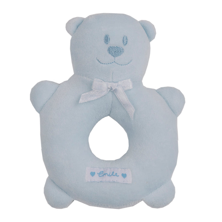 Velour Emile Bear Ring Rattle, Blue