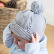 Fuzzy Grey Baby Bobble Hat