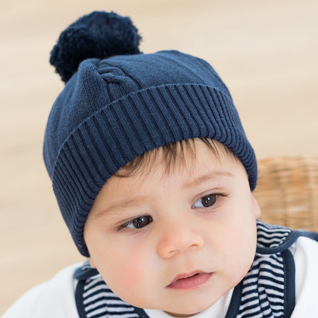 Fuzzy Bobble Hat, Navy