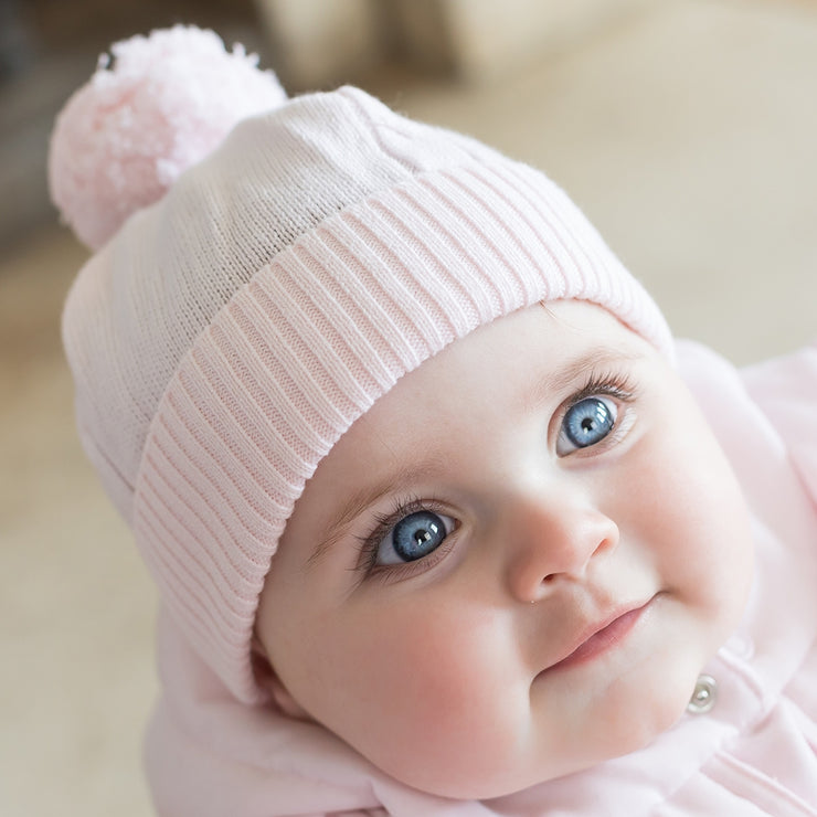 Fuzzy Bobble Hat, Pale Pink