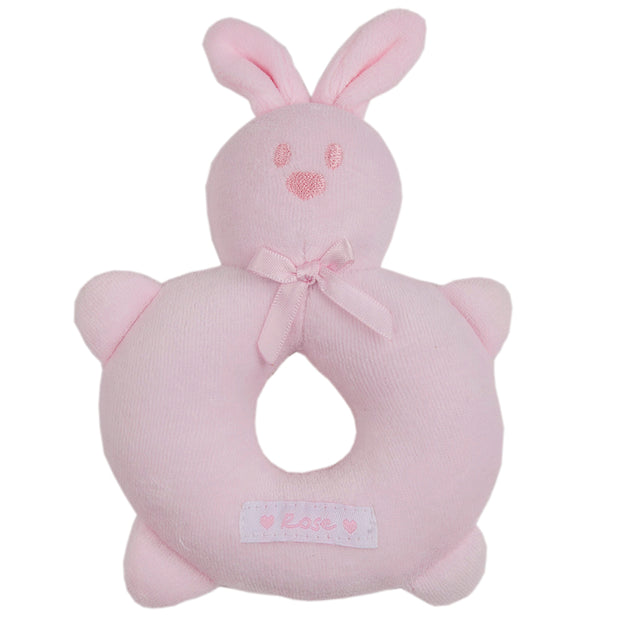 Velour Rose Bunny Ring Rattle, Pink