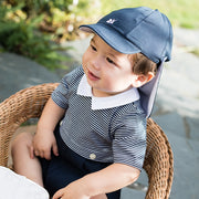 Edward Jersey Baby Boy Suncap with detachable flap Navy