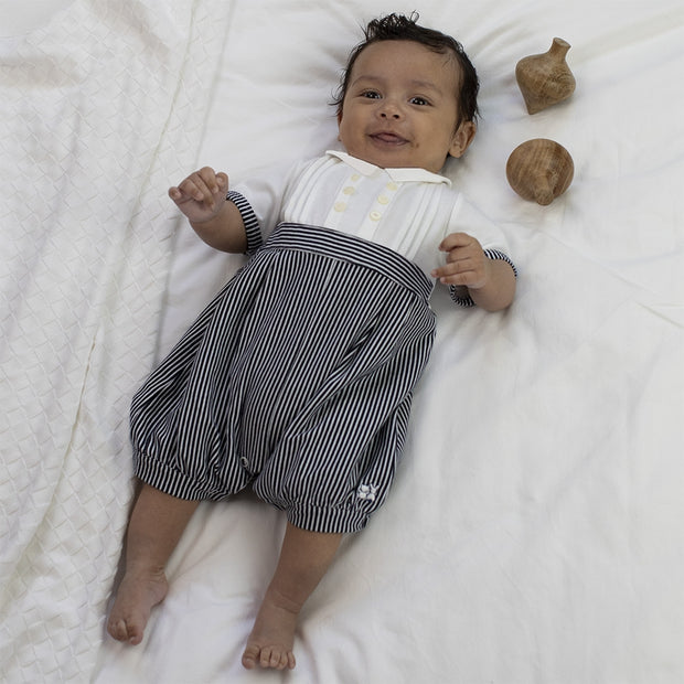 Saul Navy Striped Romper