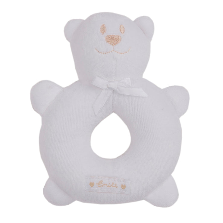 elour Emile Bear Ring Rattle, White