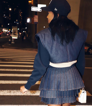 Noelle Skirt - Triple Dark Blue Hue