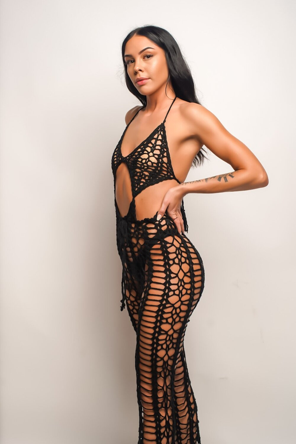 Caught In the Moment | Black Crochet Halter Jumpsuit