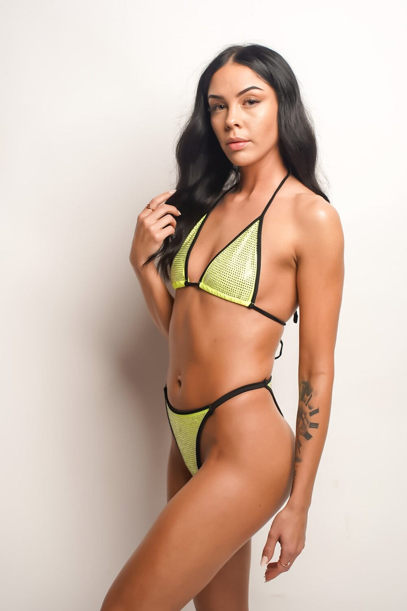Watch Her Shine | Lime Embellished Bikini Set