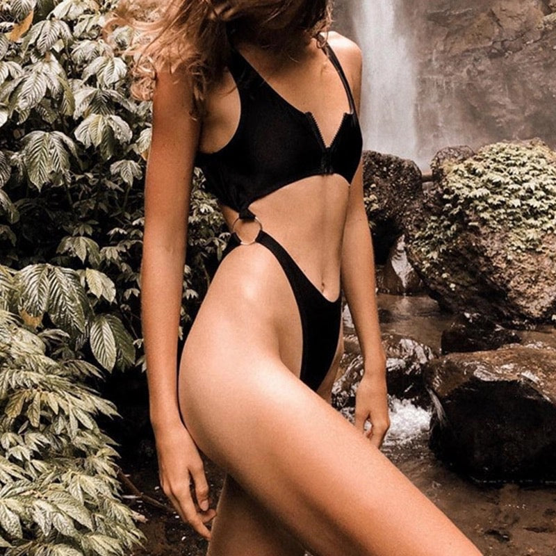 Zip Me Up | Black Zip Up Cut Out High Thigh One Piece