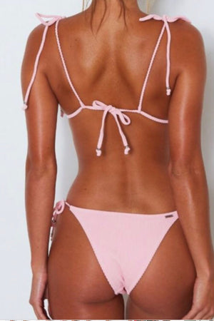 Suns Out | Pink Ribbed Bikini
