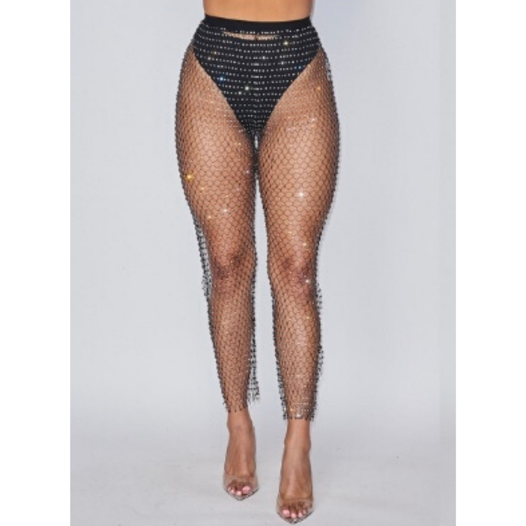 Black Embellished Fishnet Pants