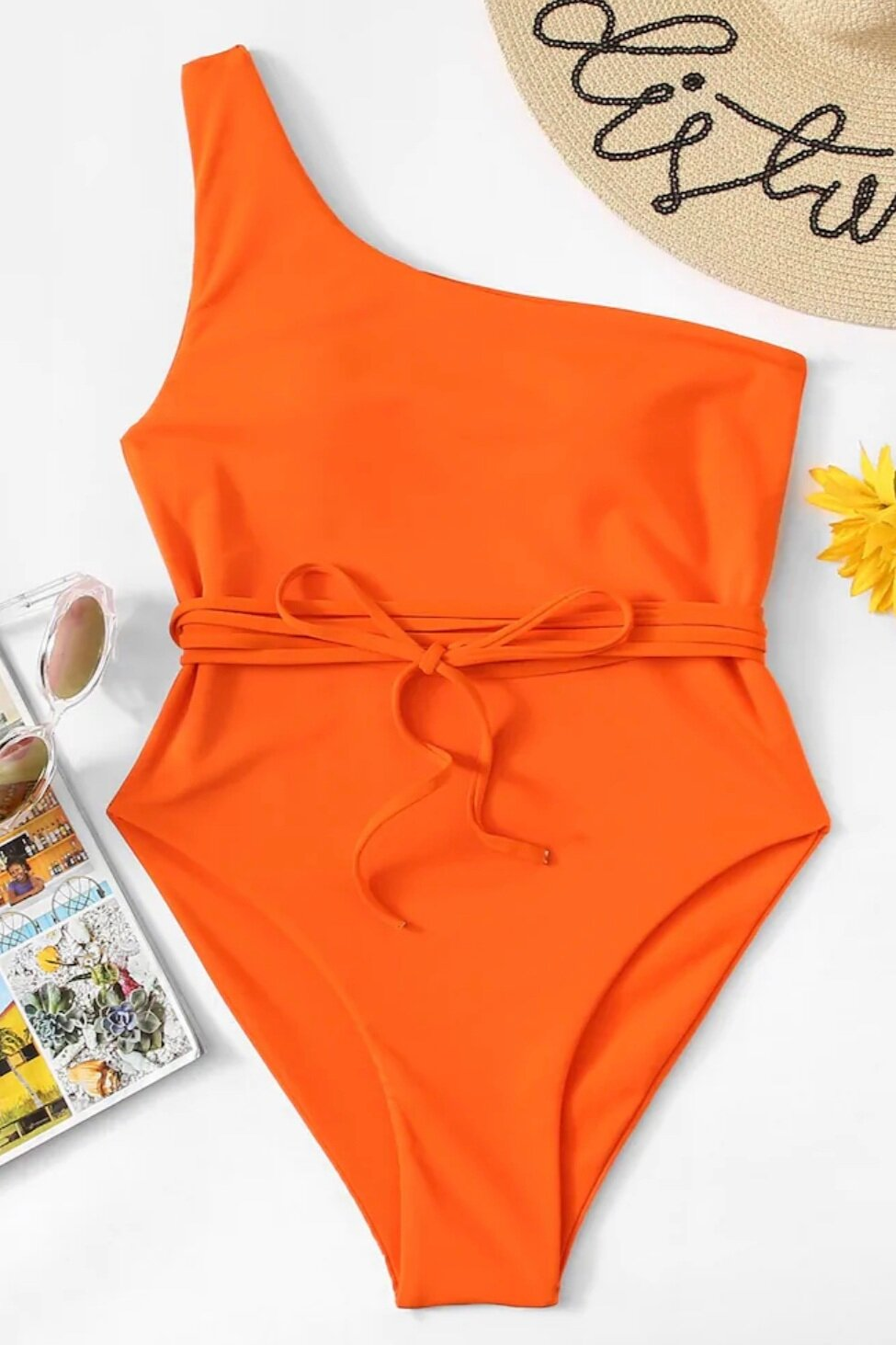 Orange one shoulder monokini