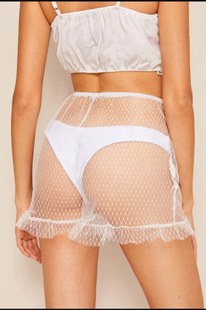 White Ruffle Hem Sheer Mesh Shorts