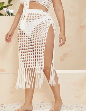 Vacation Mode | Crochet Fringe Hem Cover Up Set