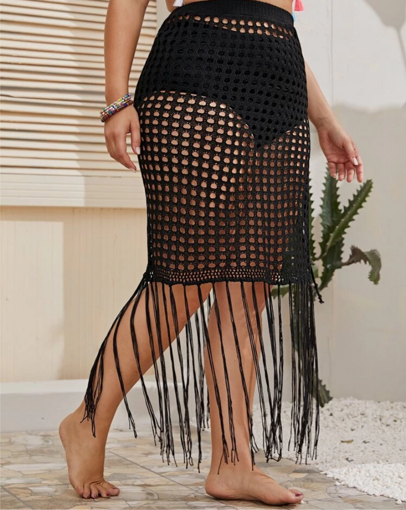 Festival Queen | Crochet Fringe Hem Coverup Skirt