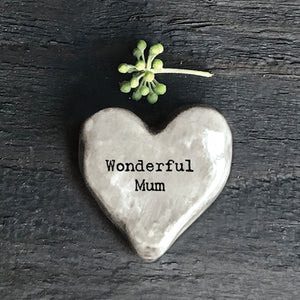 Wonderful Mum Porcelain Keepsake Heart Token
