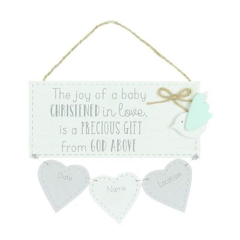 Baby Christened In Love Keepsake Hanging Sign - Personalised
