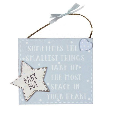 Baby Boy Smallest Thing Hanging Sign