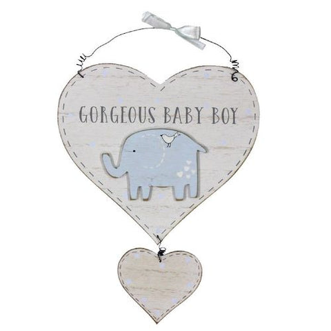 Gorgeous Baby Boy Elephant Heart Decoration - Personalised
