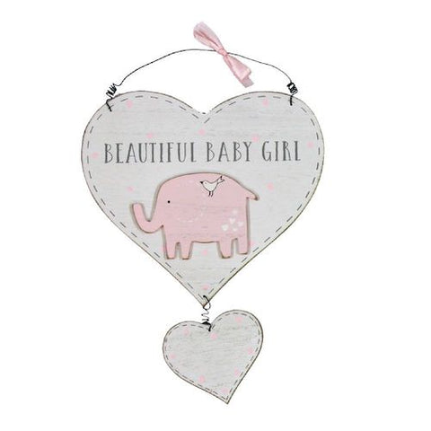 Beautiful Baby Girl Elephant Heart Decoration - Personalised